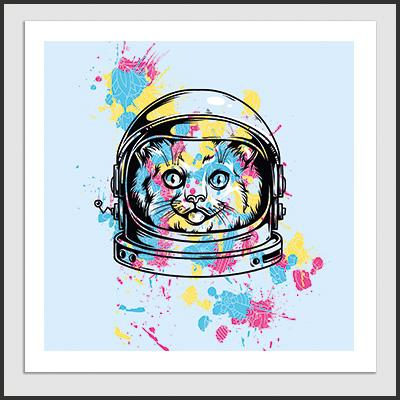 Impresos: Poster Space Cat Cute Animales