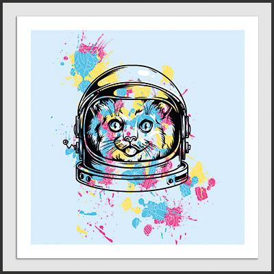 Impresos: ArtPrint Space Cat Cute Animales