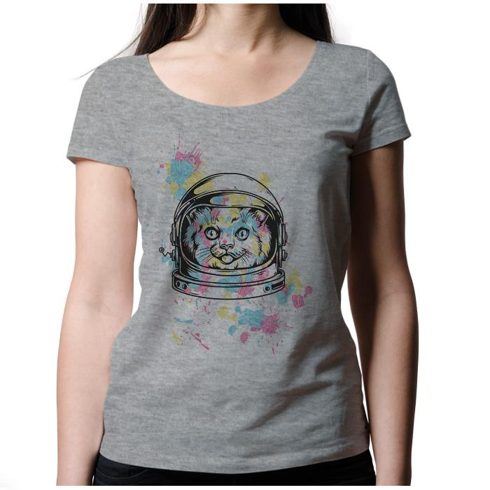 Ropa: Playera Mujer Space Cat Cute Animales