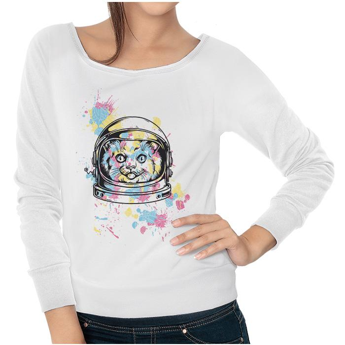 Ropa: Sudadera Mujer Space Cat Cute Animales