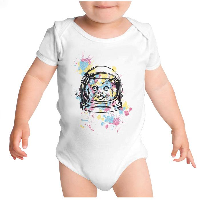 Ropa: Pañalero Body Bebé Space Cat Cute Animales