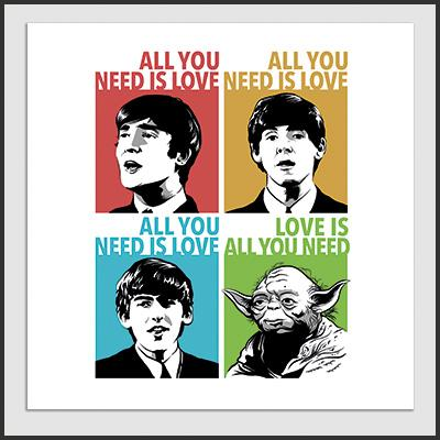 Impresos: Poster Beatles & Yoda: All You Need is Love Humor Música