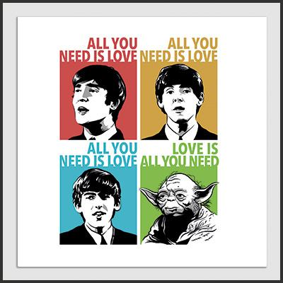 Impresos: ArtPrint Beatles & Yoda: All You Need is Love Humor Música