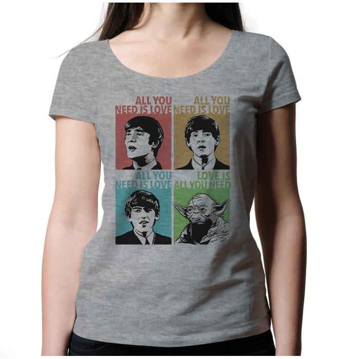 Ropa: Playera Mujer Beatles & Yoda: All You Need is Love Humor Música