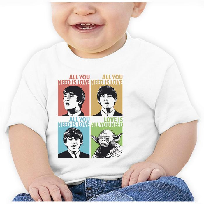 Ropa: Playera Bebé Beatles & Yoda: All You Need is Love Humor Música
