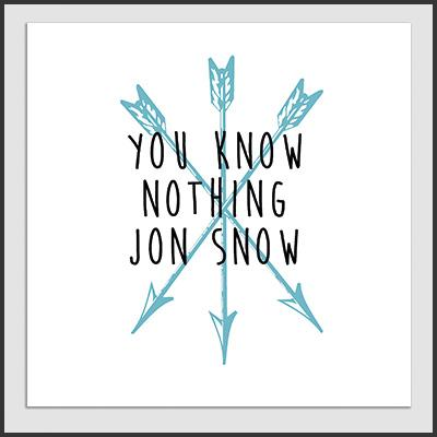 Impresos: Poster You Know Nothing Jon Snow. Playeras de Game Of Thrones Mexico Tv y Cine Personajes