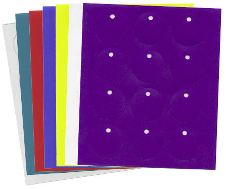 Sheet of 12 Plain Colored Disks