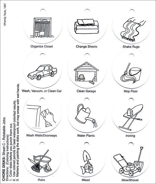 Household Jobs - These jobs may only need to be done once a week or month. They can be used as a visual reminder!