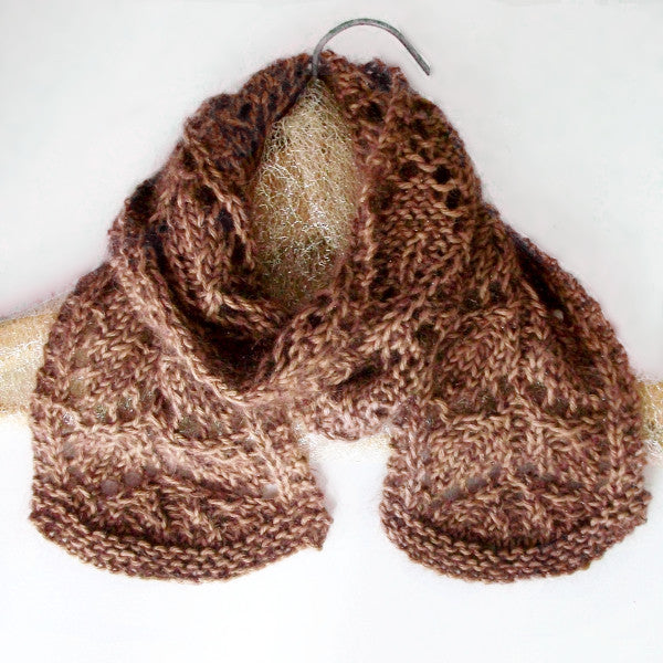 Frosted Fall Leaves Lace Knit Scarf