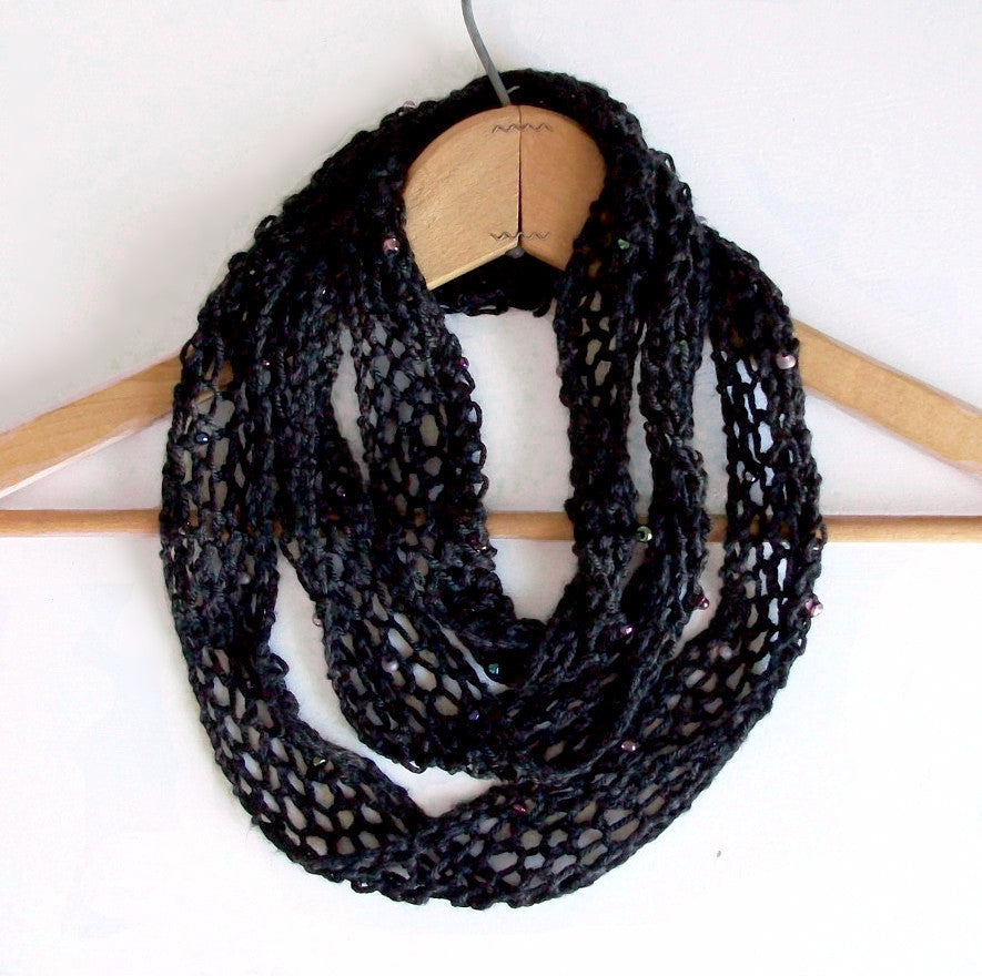 Black Silk Beaded Knit Scarf