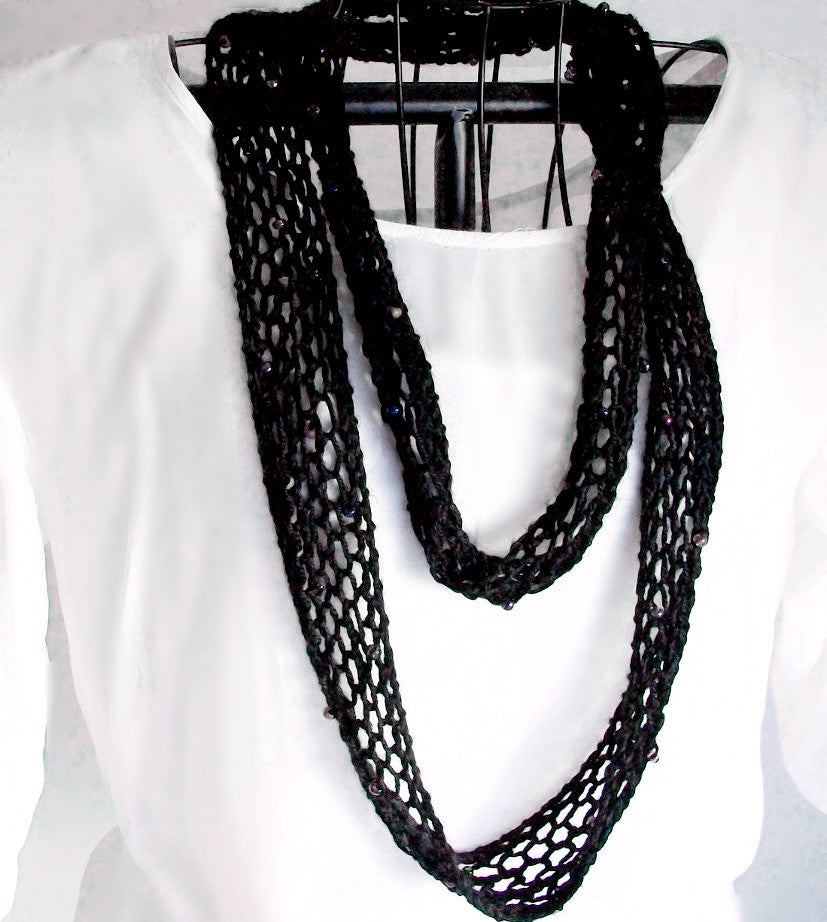 Beaded Black Scarf