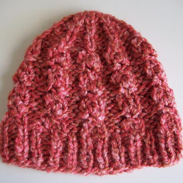 Rustic Twist Pink Cable Knit Hat