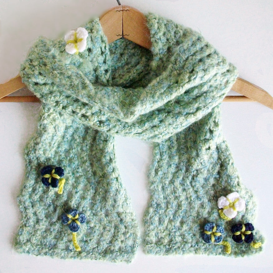 Blue Green Lace Scarf with Flowers