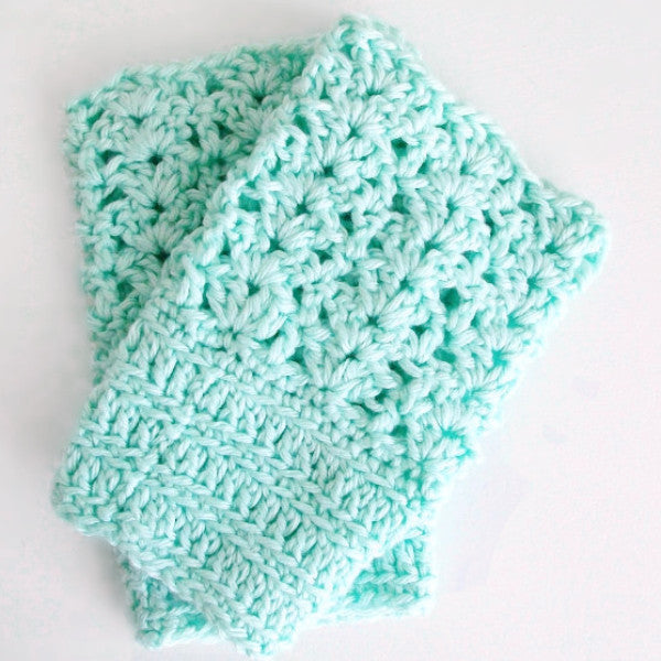 Sea Glass Lace Boot Cuffs Blue & Aqua