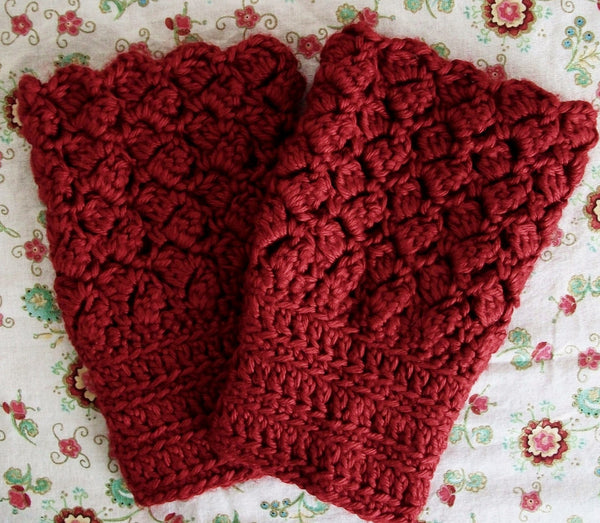 Red  Lace Crochet boot cuffs