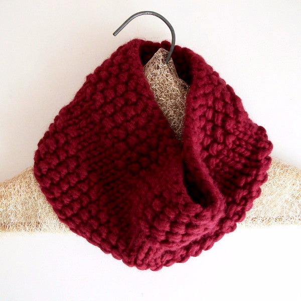 Cranberry Red Rustic Circle Scarf