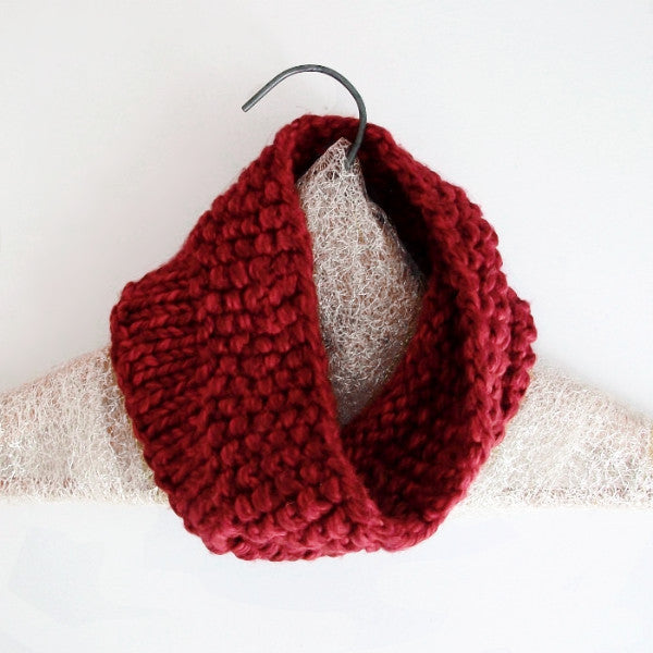Pillow Puff Cherry Red Knit Circle Scarf