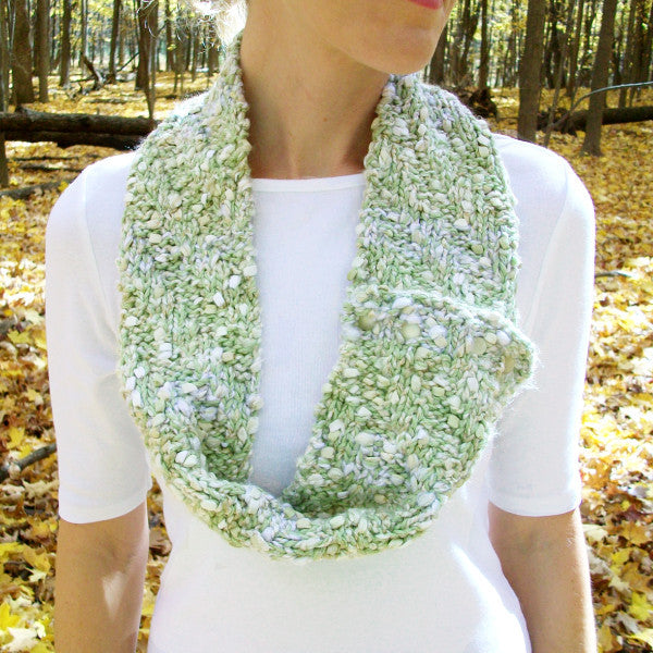 Textured Green White Infinity Scarf