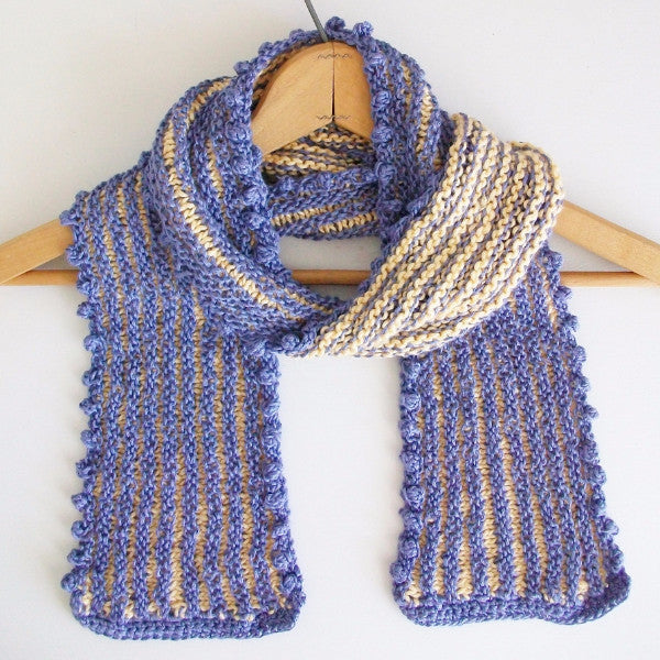 Lavender and Yellow Striped Scarf