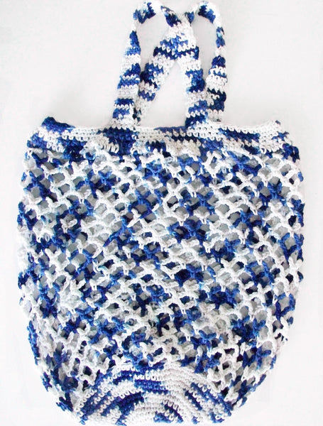 Vintage Style Blue & White Crochet Bag In The Clouds Tote