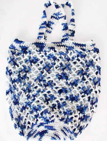 Blue White Crochet Bag In The Clouds Tote