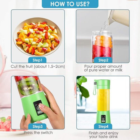 Active Portable USB Rechargeable Juicer Smoothie Maker Blender Green Color How to Use Steps