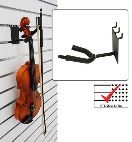 "2"" Violin / Viola Hanger with Bow Holder fits slatwall and pegboard"