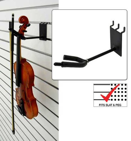 4 inch Violin / Viola Hanger with Bow Holder fits slatwall and pegboard