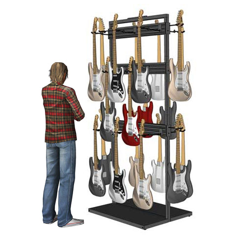 Free Standing Modular Guitar Display Triple Tier