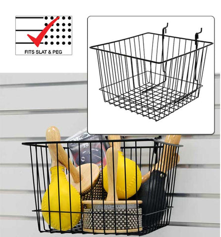 Basic Basket 12 inch x 12 inch x 8 inch fits slatwall and pegboard
