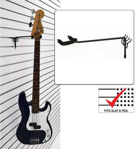 Economy-Left Facing Fixed Angle Guitar Hanger fits slatwall and pegboard