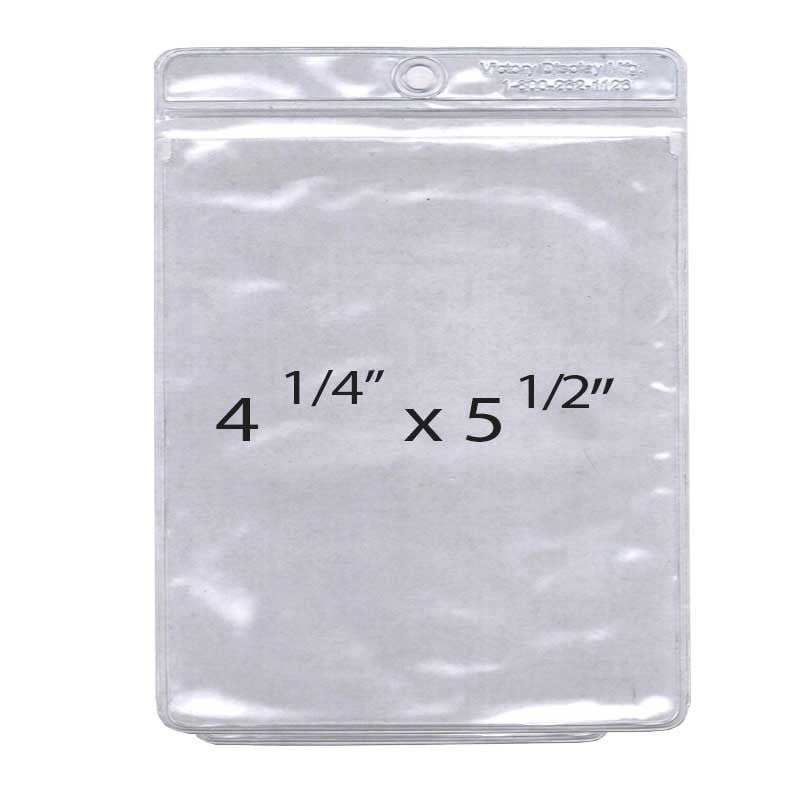 "Vinyl Pouch for price cards and tickets 4 1/4"" w x 5 ½ h (100 pack)"