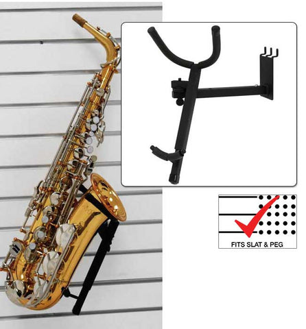 Adjustable Tenor Sax Holder fits slatwall and pegboard