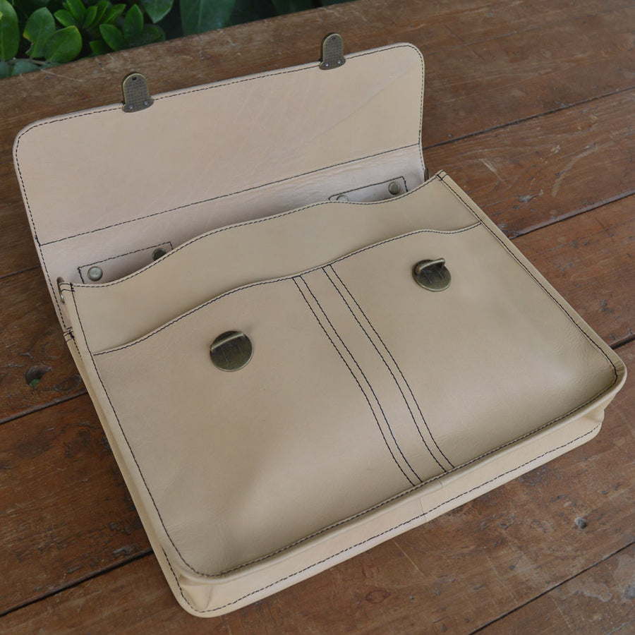 Balloo - Cream Color - Leather Messengers and satchels - Durable Leather Classics - Bear Necessities