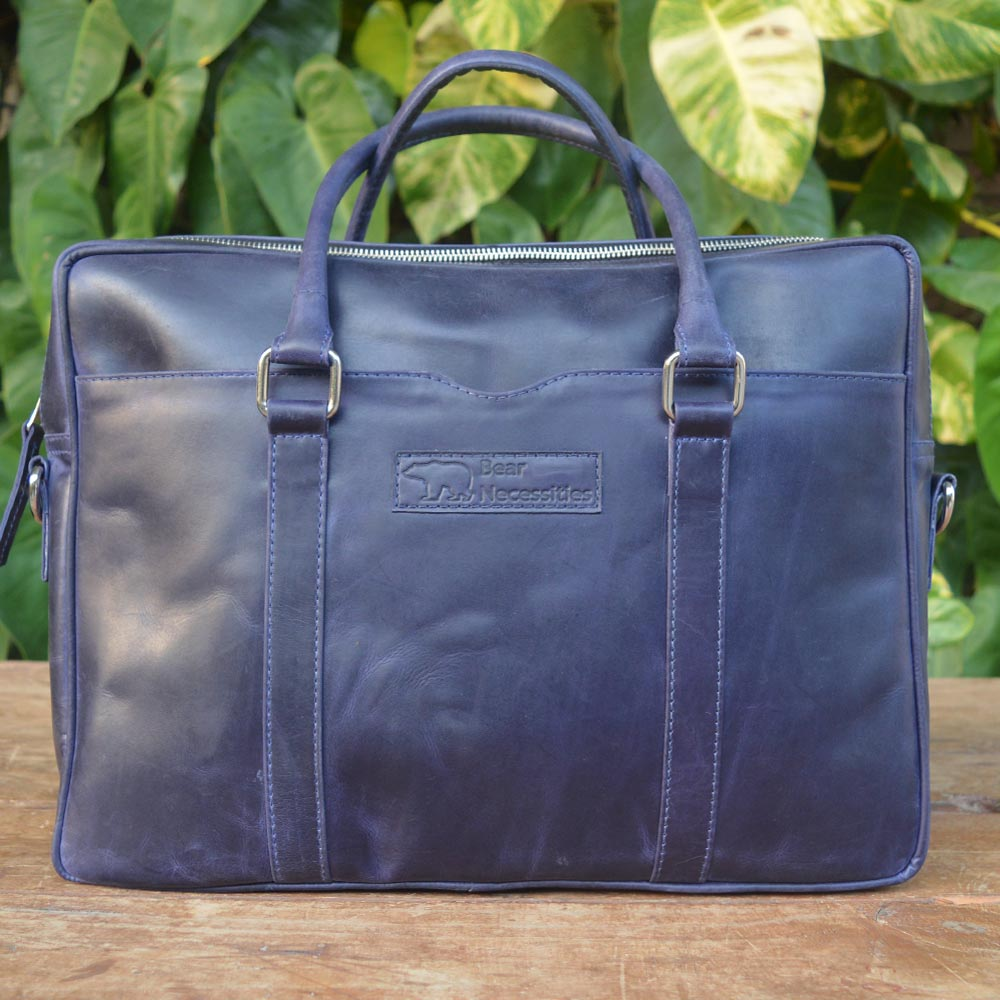 Leo - Blue - Leather Messengers and satchels - Durable Leather Classics - Bear Necessities