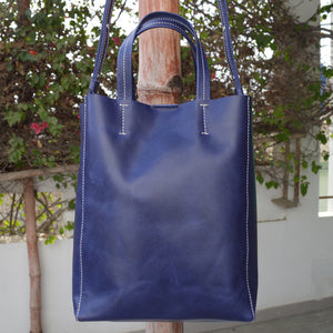 Mini Tote - Blue - Leather Totes - Durable Leather Classics - Bear Necessities