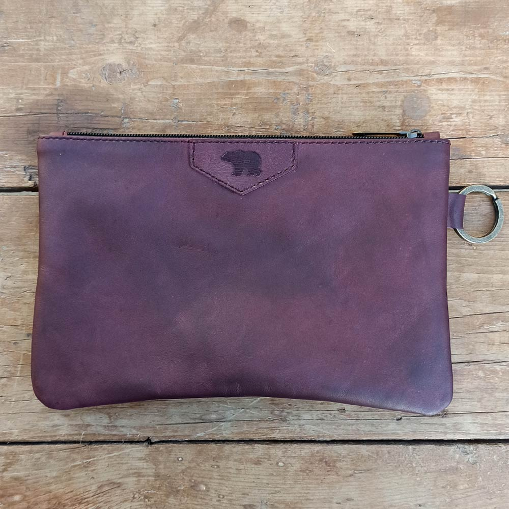 Burgundy Leather Pouch - Leather Travel accessories - Durable Leather Classics - Bear Necessities
