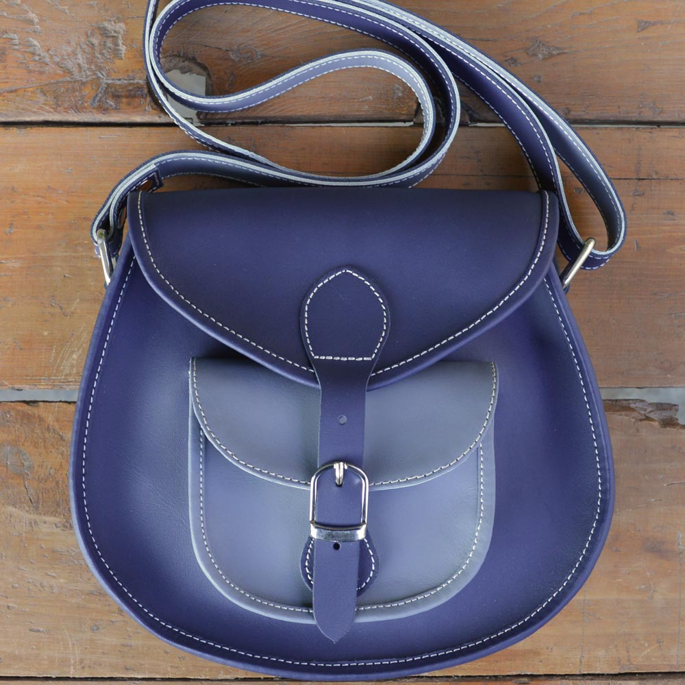 Kamaiya - Blue/Grey - Leather Crossbody bags - Durable Leather Classics - Bear Necessities