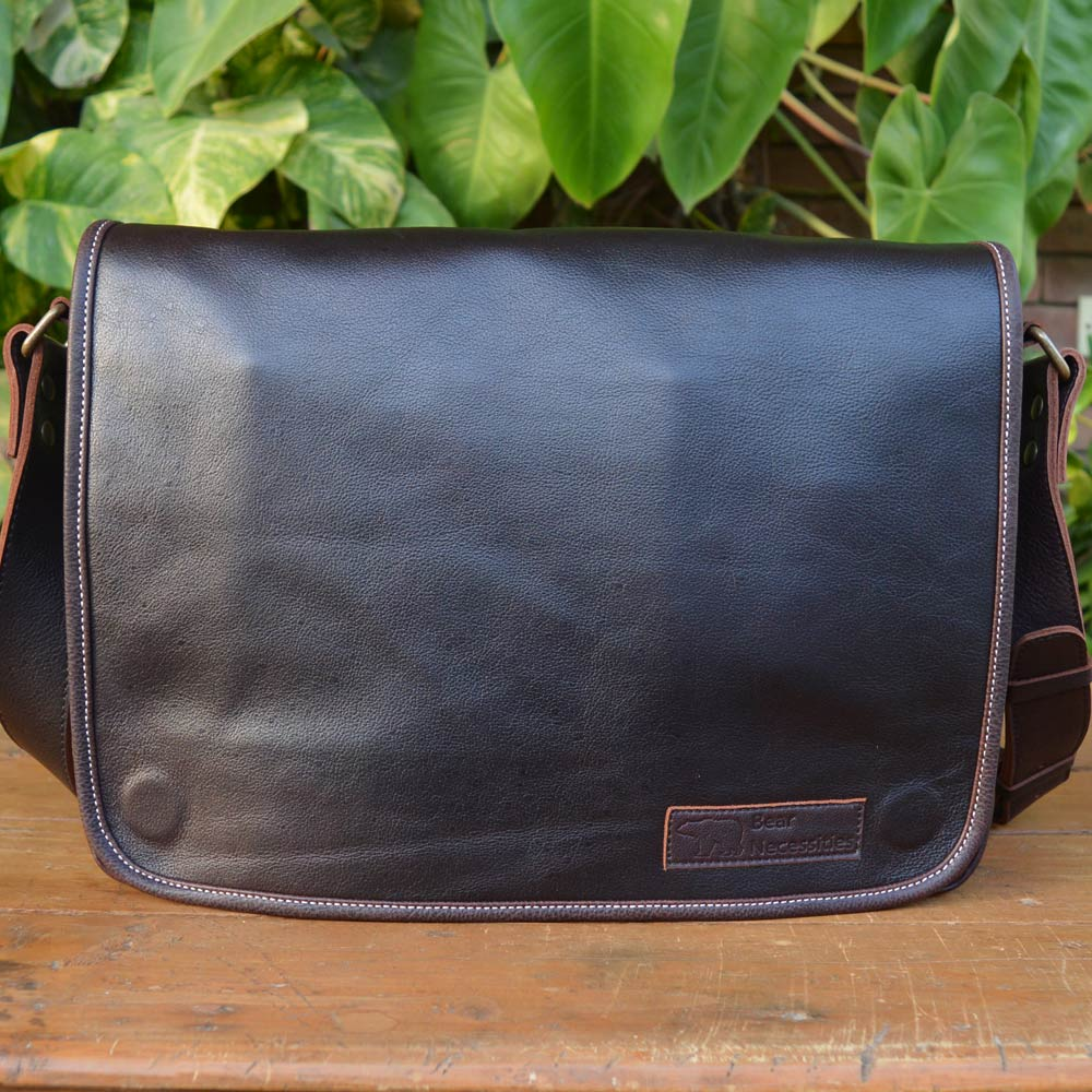 Laptop Carrier - Dark Brown - Leather Messengers and satchels - Durable Leather Classics - Bear Necessities