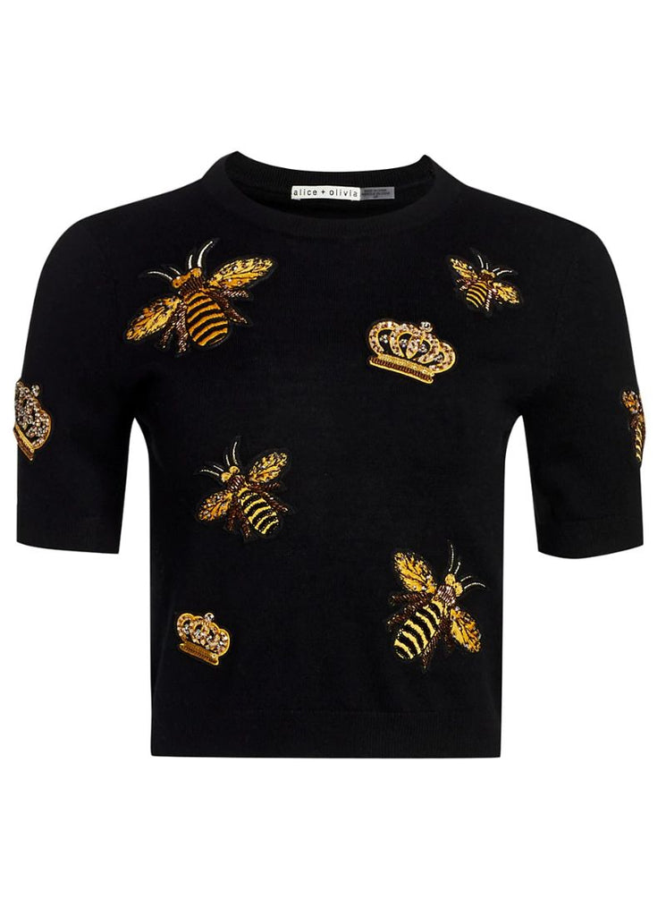 Alice & Olivia Ciara Bee Cropped Sweater