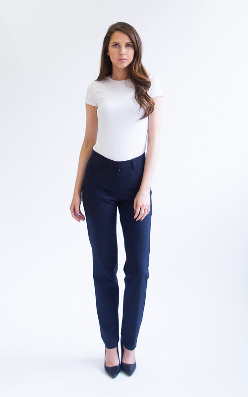Cambio Reina Full Length Techno Pant - Navy