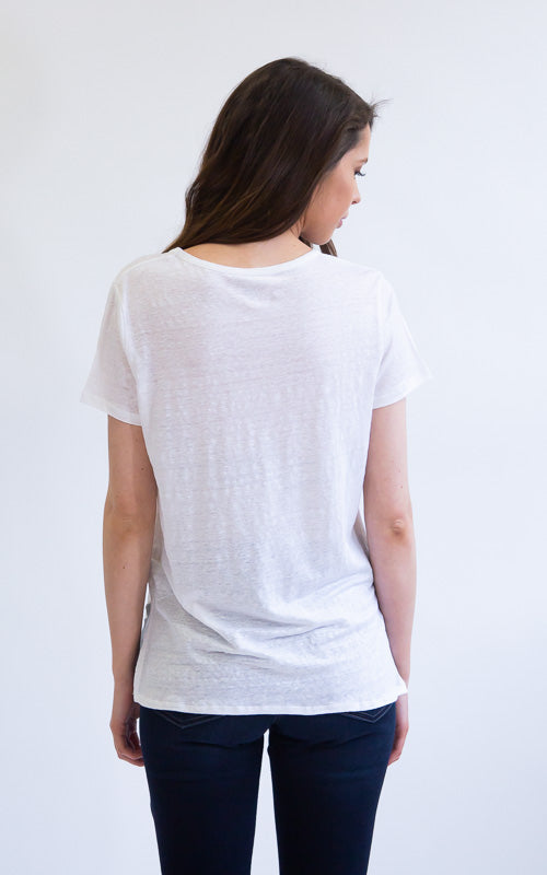 Linen Short Sleeve Crew Tee - White