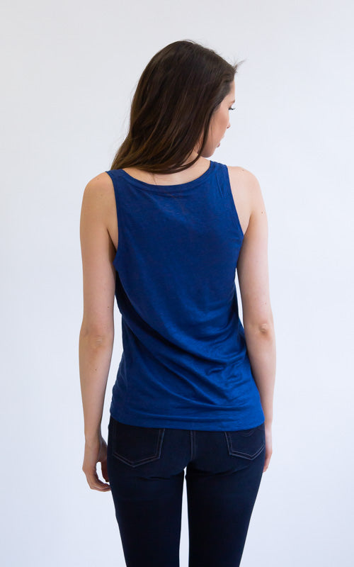 Linen Scoop Tank - Blue