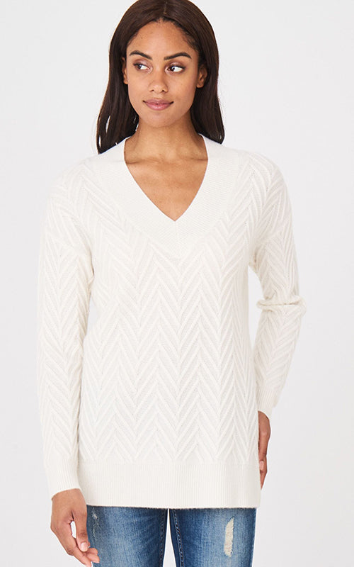 Wool Cashmere Chevron V Neck Repeat