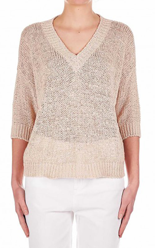 Tape Yarn V Neck Sweater Roberto Collina