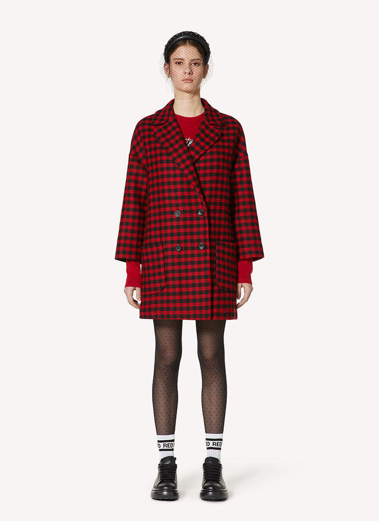 Wool Check Double Breasted Coat Red Valentino