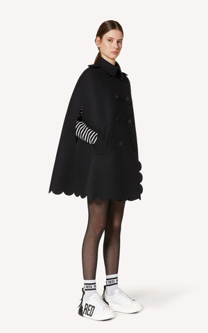 Scallop Detail Wool Cashmere Cape Red Valentino