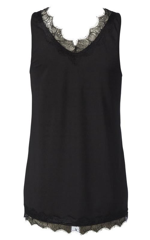 Billie Wide Strap Cami - Black Rosemunde