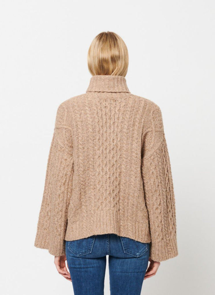 Line Cotton Cable Knit Turtleneck
