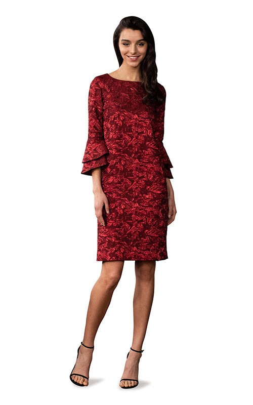 Bell Sleeve Brocade Shift Dress Theia